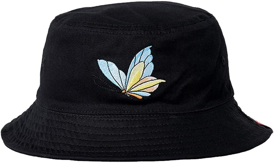 Hosaire 1X Unisex Funky Floral Double-Sided Cotton Simple Fisherman Hat Embroidery Basin Cap Sun Hat Black