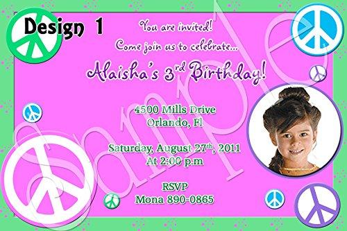 Peace Hippy Tie Dye Personalized Birthday Invitations ()