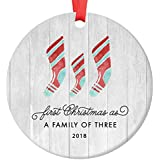 """First Christmas As A Family of Three Ornament 2018, Farmhouse Woodsy Newborn New Baby Parents Mom Dad Xmas Present Mommy Daddy Ceramic Porcelain Keepsake 3"""" Flat Circle with Red Ribbon & Free Gift Box"""