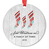 First Christmas As A Family of Three Ornament 2018, Farmhouse Woodsy Newborn New Baby Parents Mom Dad Xmas Present Mommy Daddy Ceramic Porcelain Keepsake 3'' Flat Circle with Red Ribbon & Free Gift Box