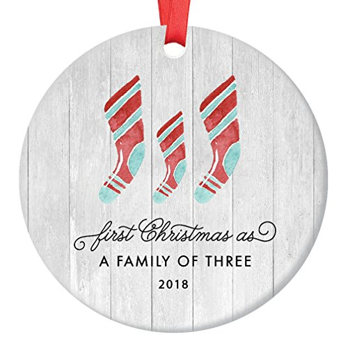 First Christmas As A Family of Three Ornament 2018, Farmhouse Woodsy Newborn New Baby Parents Mom Dad Xmas Present Mommy Daddy Ceramic Porcelain Keepsake 3