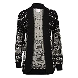 Forever Women's Long Sleeve Owl Print Knit Cardigan