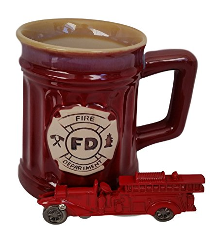 Firefighters Gifts For Men or Women - Burton & Burton Fireman Mug & KN Firetruck Pocket Knife Bundle