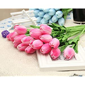 12Pcs PU Artificial Tulips Flowers Real Touch Tulips Wedding Flower Simulation Latex Tulip Flower for Proposal Party Home Hotel Event Christmas Gift Decoration (pink) 3