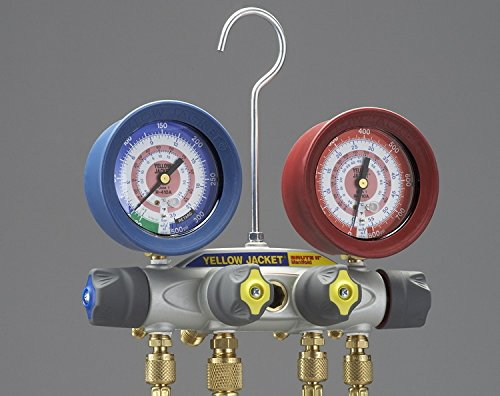 Yellow Jacket 46010 Brute II 4-Valve Manifold with Red/Blue Gauges, bar/psi, R-22/404A/410A