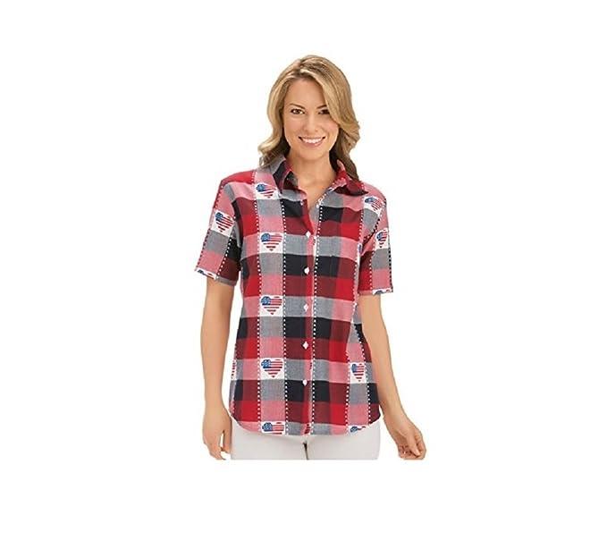 Women\'s Classic Americana Button Down Plaid Shirt, Red/White/Blue, X ...