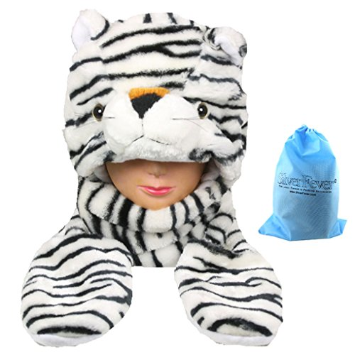 Silver Fever Plush Soft Animal Beanie Hat with Built-in Earmuffs, Scarf, Gloves White Tiger