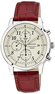 Seiko Men's SNDC31 Classic Brown Leather Beige Chronograph Dial Watch by Seiko