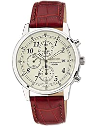 Men's SNDC31 Classic Stainless Steel Chronograph Watch with Brown Leather Band