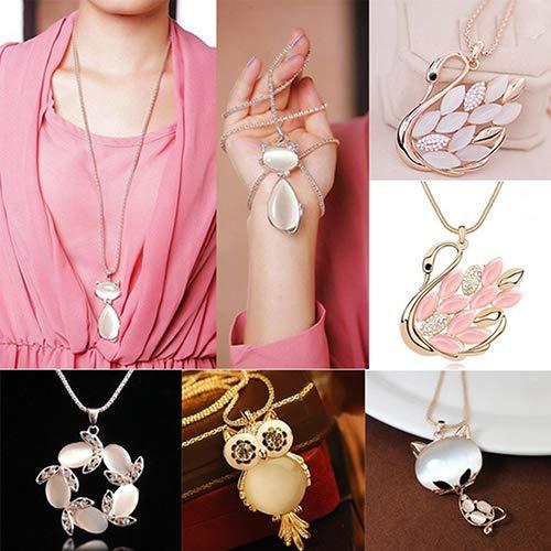 856store Novelty Women Fashion Sweater Chain Necklace Rhinestone Cat Swan Owl Pendant Jewelry Gift - 4