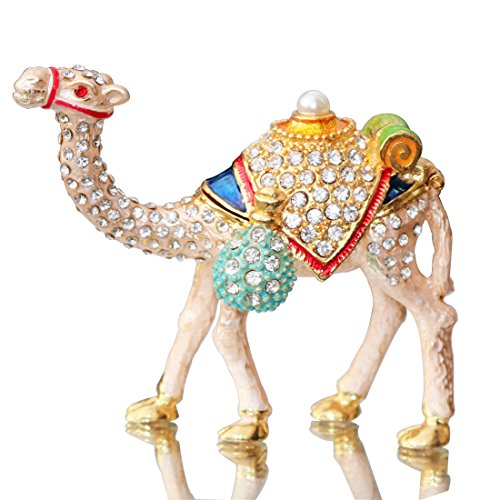 Figure Figurine Ornament - Waltz&F Camel Figurine Trinket Boxes Ornament Crystals,Hand-painted Patterns Jewelry Trinket Box Hinged Collectible Ring Display Holders for Women or Girl