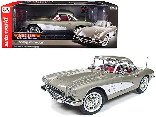 Blue Two Tone Corvette - Auto World 1961 Chevrolet Corvette Hard Top Fawn Beige Muscle Car & Corvette Nationals (MCACN) Limited Edition to 1002 Pieces Worldwide 1/18 Diecast Model Car AMM1151