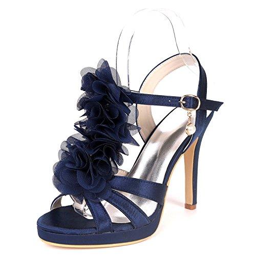 5915 Ouvert Bout Forme Soirée Base Ager UK4 EU37 Femmes Stiletto Chaussures De Flower Pompe Court 18H Satin Plate Sandales Chaussures Deepblue Mariage De Talon qZ5aAw