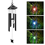 HIOTECH Led Wind Chimes Solar Light Ball Pendant Bell 7 Color Changing Home Decor (Color)