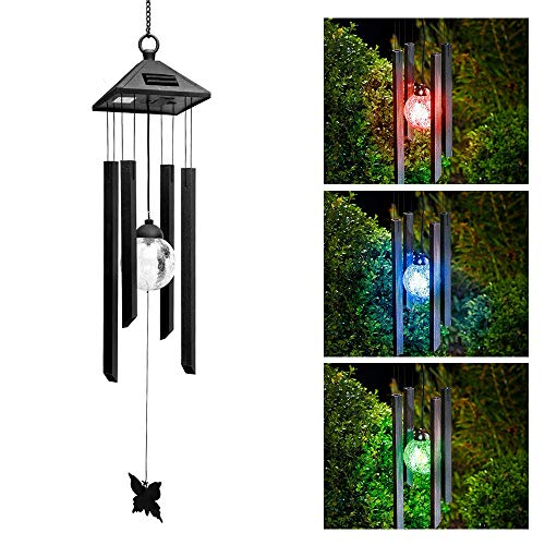 HIOTECH Led Wind Chimes Solar Light Ball Pendant Bell 7 Color Changing Home Decor (Color) by HIOTECH