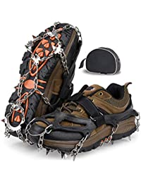 Traction Cleats,Ice Snow Grips, Anti Slip Crampons 18 Tooth Stainless Steel,Suitable for Winter Jogging,Hiking, Climbing,Other Outdoor Events-Includes Carry Bag