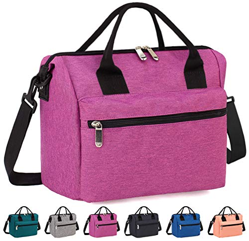 Insulated Lunch Bag Box with Adjustable Shoulder Strap, Water Resistant Leakproof Cooler Bag Lunch Container for Women/Men/Work/Picnic(Rose Red)