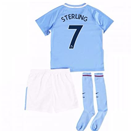 sports shoes f6ec2 4a8af Amazon.com : UKSoccershop 2017-18 Man City Mini Kit (Raheem ...