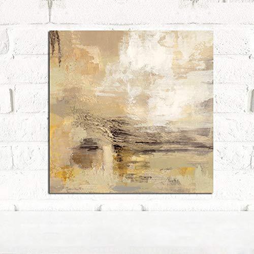 XIAOXINYUAN 100% Amarillo Abstractos Pintado A Mano Pintura Al Oleo Cuadros De Pared Moderno para El Salon De Arte De Pared Decoracion Pop 80×80Cm