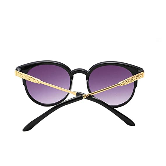 Wang-RX Moda retro gafas redondas lindo metal ojo de gato ...