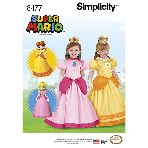 Halloween Costumes Daisy Mario (Simplicity Pattern 8477 Child Super Mario Princesses Costume ( SIZE 3-8) SEWING PATTERN)