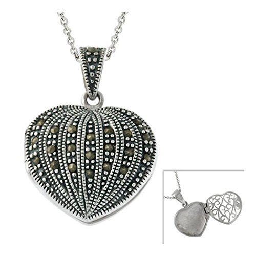 Glitzs Jewels Sterling Silver Marcasite Heart Locket Pendant, 18''