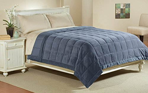 Aeolus Down Luxlen Microfiber Blanket in Blue Jean Reversible Soft Plush to Satin Cool, Full/Queen