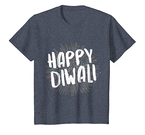 Kids Happy Diwali T-Shirt For India's Hindu Deepavali Festival 8 Heather Blue by Diwali Gifts for Indians