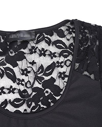 ZANZEA Mujer Camiseta Mangas Cortas Blusa Cuello Botones Elegante Noche Deportiva Casual 2 Negro