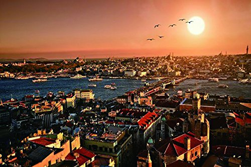 Evening sunset turkey panorama istanbul- Nature Art Poster Print on Canvas P-1000095