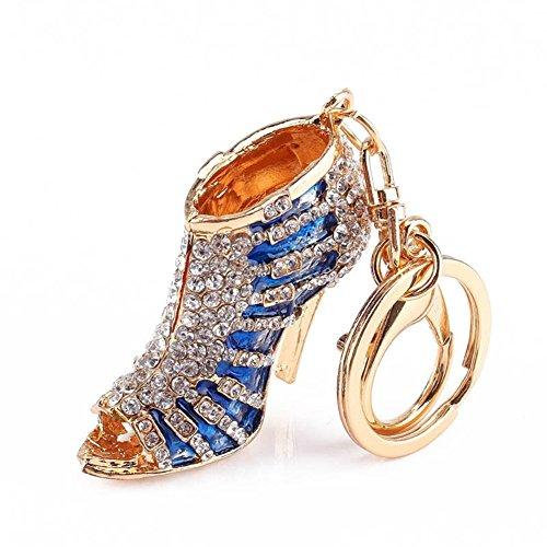 BAOBAO Bling Crystal Rhinestone Shoes High Heel Keychain Car Bag Purse Keyring(Blue) from BAOBAO