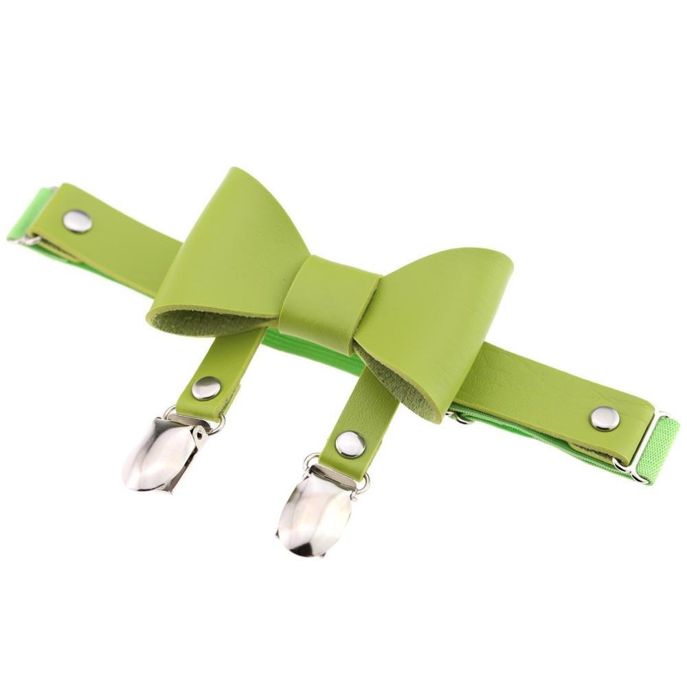 RedSonics Europe Sexy Punk Rock Handcrafted Leather Bowknot Double Duckbill clips Garter Belt Stocking Shorts Leg Elastic Thigh Harnes [ Green ]