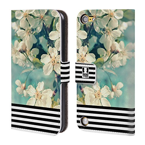 Head Case Designs Strisce Floreali Trend Mix Cover a portafoglio in pelle per iPod Touch 5th Gen / 6th Gen