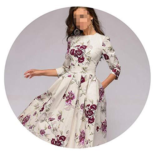 Women Elegant A-line Dress 2019 Vintage Printing Party Vestidos Three Quarter Sleeve Spring ()