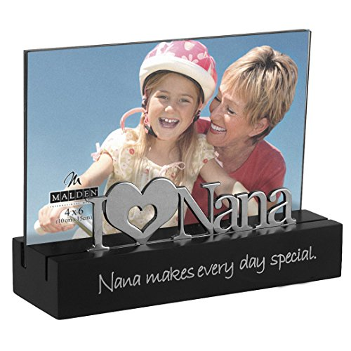 Malden International Designs Nana Desktop Expressions with Silver Word Attachment Picture Frame, 4x6, Black (Nana Gift)