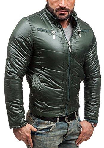 Prácticos Chaqueta S01 Denim Multipurpose Cremallera Alto Y Verde Bolsillos Cuello Con Bolf Republic Hombre T8aIwxaHq