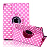 HDE Rotating iPad Air 2 Case Magnetic Leather Cover 360 Degree Stand for 9.4 Inch Apple iPad Air 2 (Hot Pink Polka Dot)