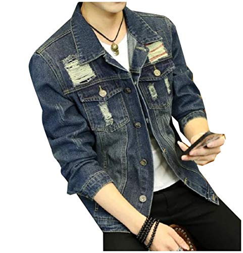 Button Howme Down Vintage Jean 2 Coat Collar Turn Down Jacket Wash Men rfnxFr