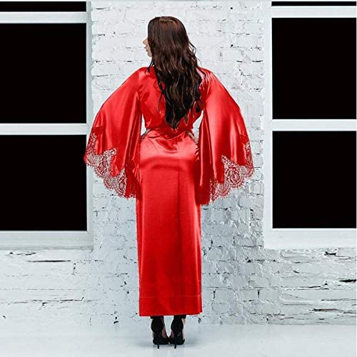 LSJSN Pijama Batas Sólidas Sexy Negro Rojo Manga Larga Seda Satén Suave Primavera Encaje Ropa De Dormir Albornoz Femenino Moda-Rojo_M: Amazon.es: Deportes y aire libre