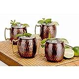 Antique Copper Hammered Hard Moscow Mule Mug Set Of 4