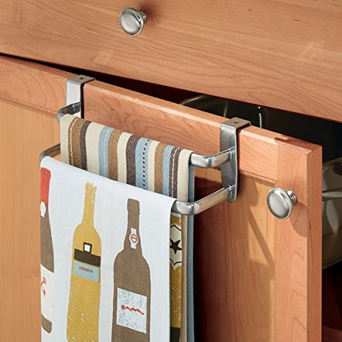 mDesign Modern Kitchen Over Cabinet Strong Steel Double Towel Bar Rack - Hang on Inside or Outside of Doors, Storage and Organization for Hand, Dish, Tea Towels - 9.75