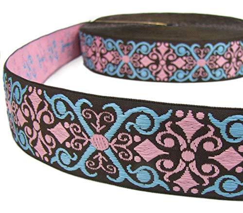 2 Yds Brown Blue Pink Ornate Scroll Woven Belt Jacquard Ribbon 1 1/2