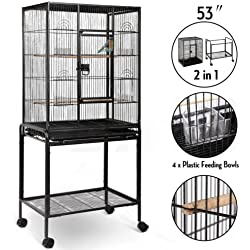 "53"" Large Bird Parrot Pet Cage Chinchilla Cockatiel Conure House w/Stand 4 Cups"