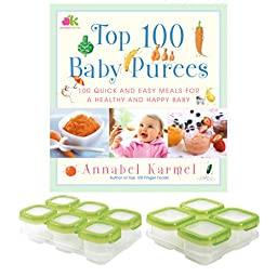 Top 100 Baby Purees Food Book with 12 Piece OXO Tot Block Food Storage Set