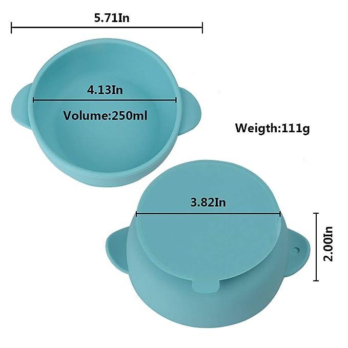 Cuencos y cucharas de silicona para bebés, 2 unidades con base de succión mejorada