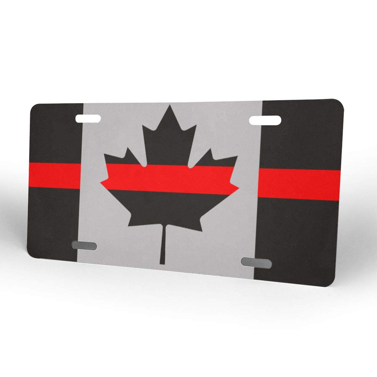 Thin Red Line Canada Flag Metal License Plate Vanity Car Tags 6 X 12