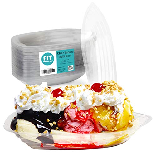 ([125 Pack] 12 OZ Banana Split Boat Plate Clear PET Plastic Disposable Ice Cream Sundae Splits Bowl Tray for Gelato Parlors, Cafes, Parties, Home and Restaurants)