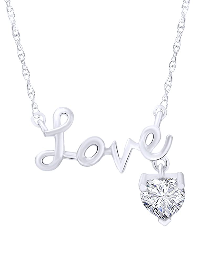 Wishrocks 14K White Gold Over Sterling Silver Charm and Cursive Love Pendant Necklace
