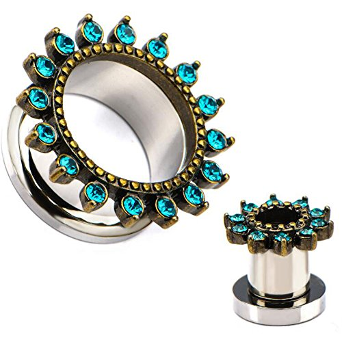 5 8 plugs and tunnels with gems - 8