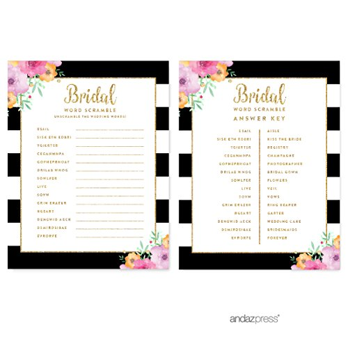 (Andaz Press Floral Gold Glitter Print Wedding Collection, Wedding Word Scramble Bridal Shower Game Cards, 20-Pack)